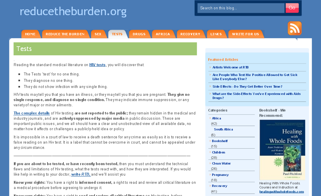 screenshot from reducetheburden.org