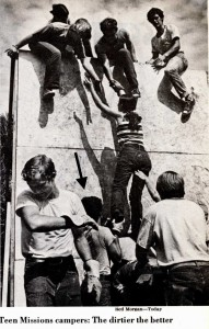 """This picture from the August 4, 1978 Newsweek shows me boosting a fellow religious zealot over a wall during """"boot camp""""."""