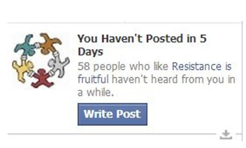 Facebook birdie: You have posted in 5 days.